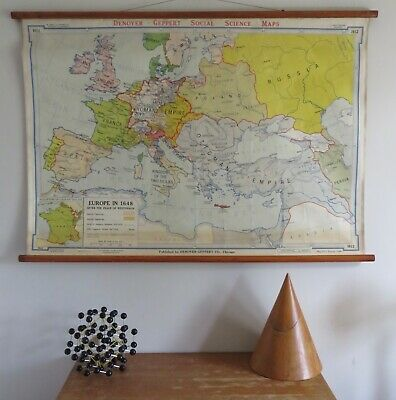 Original Vintage Map Of  Europe In 1648 After The Peace Of Westphalia