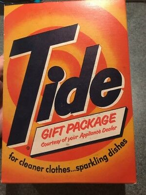 Vintage 1950s Unopened Box Of Tide Detergent 1 Lb 4 Oz Iconic Graphics