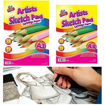 A4 Artist Sketch Drawing Book Pad 50 Sheets 70gsm Sketching 12 Charcoal Pencils
