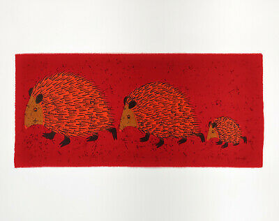 HUGE Vintage Retro 1960s Hedgehog Family Red Fabric Wall Hanging - Signed
