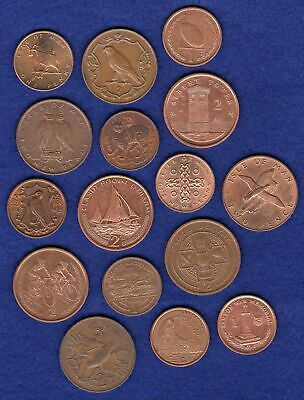 Isle of Man 2p & 1p Coins x16 Decimal Two & One Pence All Different (Ref. t3012)