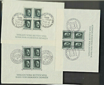 Stamp B102 Germany Sheet 1937 WWII Adolf Hitler Birthday MNH - 3 Diff. Cancels!