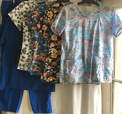 Medical Scrubs Womens Solid Blue Pants and Short Sleeve Top and 4 SS Tops Size S