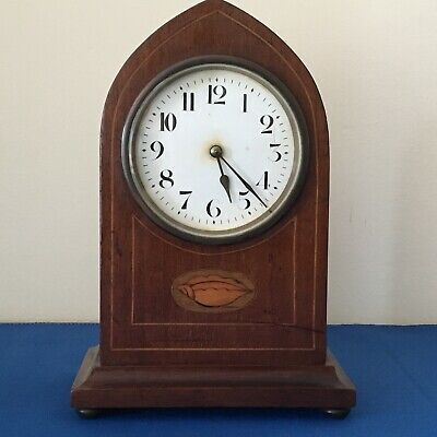 French Mahogany Inlaid Lancet Mantle Clock with Key circa 1920