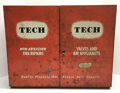 Vintage TECH Tire Repair Cabinet w/Tools Inventory