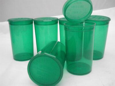 6 Pop Top Squeeze Open Prescription Bottle  19 Dram Medical Container RX Green