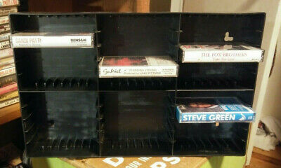 BLACK PLASTIC 30-unit Cassette Tape Storage Shelves (Wall Mount)