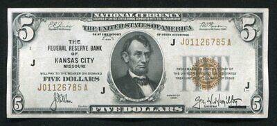 Fr. 1850-J 1929 $5 Frbn Federal Reserve Bank Note Kansas City, Mo About Unc
