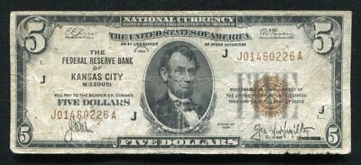 Fr. 1850-A 1929 $5 Frbn Federal Reserve Bank Note Kansas City, Mo