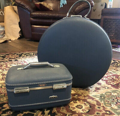 2 Vintage Blue American Tourister Tiara train cases - Great condition!