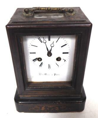 French Marquetry Officers Mantel Clock Bell Strike H Marc Paris Carriage Clock