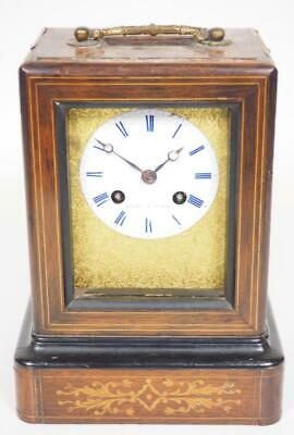 French Marquetry Officers Mantel Clock Bell Strike Rene A Paris Carriage Clock