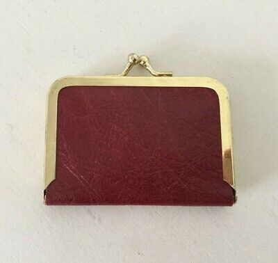 Vintage Travel Sewing Kit Burgundy Leather Case Pouch Mini Purse #1