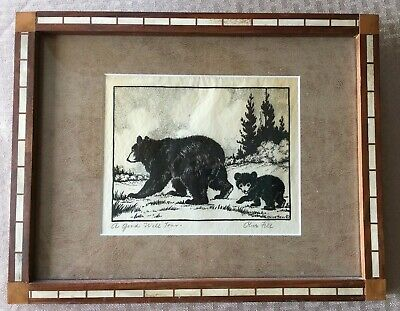 "Olive Fell – Bear & Cub - Artist Signed/Hand Titled ""A Goodwill Tour"" framed"