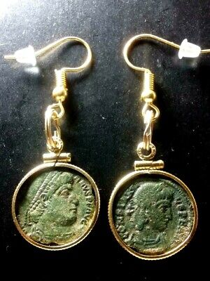 A Pair of Authentic Ancient Roman Coin Earrings Gold-Filled Bezel Pendants Lot#9