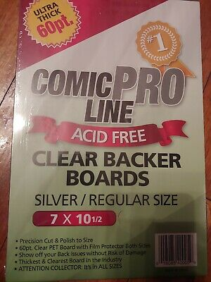REGULAR SIZE 80pt BACKER BOARD Backing 1 COMIC PRO LINE Crystal CLEAR SILVER