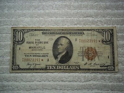 1929 $10 STAR NOTE  Minneapolis  Federal Reserve Bank Note FRBN Brown Seal  #