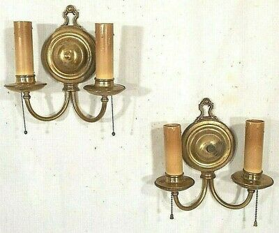 VINTAGE PAIR OF EARLY 20th CENTURY RING BACK DOUBLE ARM BRASS SCONCES