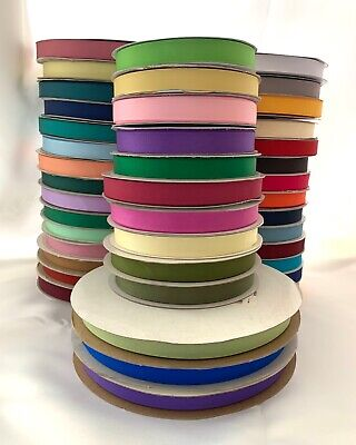 "5/8"" Grosgrain Ribbon Polyester Solid Assorted Colors Spool 50 100 yds"