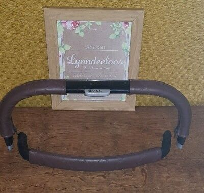 BUZZ faux leather handle bar & bumper bar COVER ONLY, CURVED SHAPE Brown Quilted