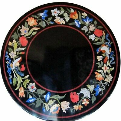 "36"" Marble round coffee Table Top Pietra Dura Handicraft Work decor"