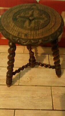 Wooden 3 Bobbin Legged Milking Stool, Circular Seat In Very Nice Condition