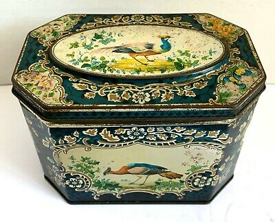 Vintage HUNTLEY & PALMERS BISCUITS TIN-Reading & London England-Exhoctic BIRD