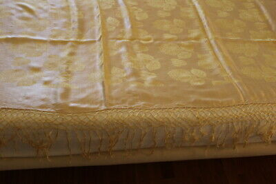 Antique Damascus Silk bedspread in Yellow with fringes