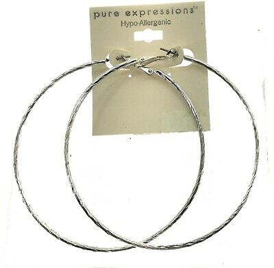 Pure Expressions Thick Hooped Earrings Hypo Allergenic
