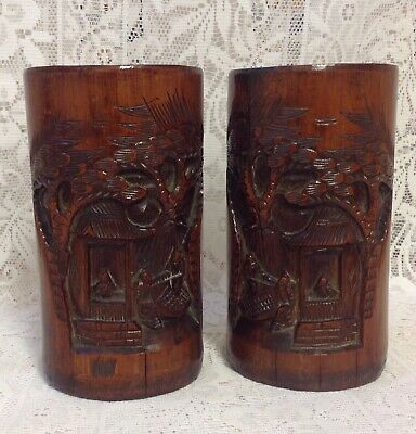 Antique Pair Of Chinese Hand Carved Bamboo Brush Pots