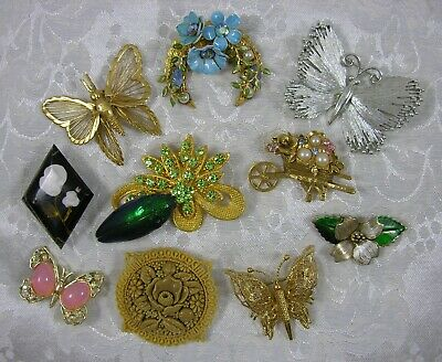 Beautiful vintage flower and butterfly(MONET & LISNER) pin/brooch assortment