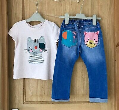 NEXT *2-3y GIRLS CAT T-SHIRT TOP & JEANS OUTFIT AGE 2-3 YEARS