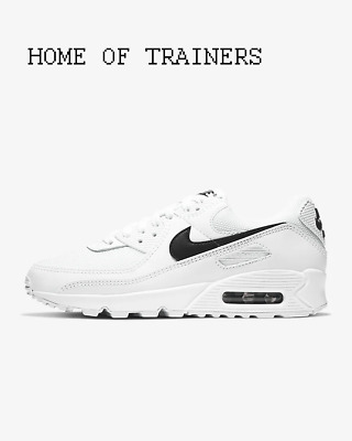 Nike Air Max 90 White White Black Girls Women's Trainers All Sizes