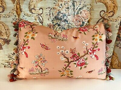 Scalamandre Pink Floral Bird Silk With Scalamandre Silk Trim, Pillow