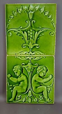 Antique Boote 2 Majolica Tile set 19th Embossed England M018