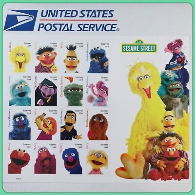 USPS '123 Sesame Street' Forever Postage Stamps New Full Sheet of 16 Cute!