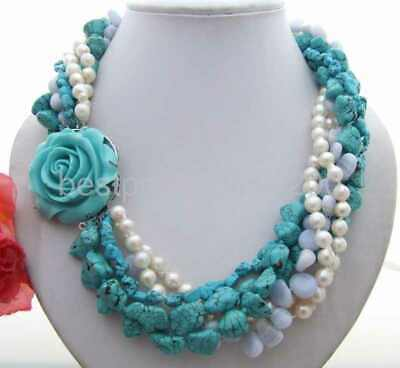 Charming! Sea Salt Pearl&Turquoise&Blue Chalcedony Necklace 20""