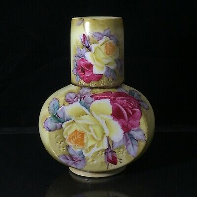 Vintage NIPPON Hand Painted Porcelain Floral Vase Pot Red Yellow Rose 7-1/4""
