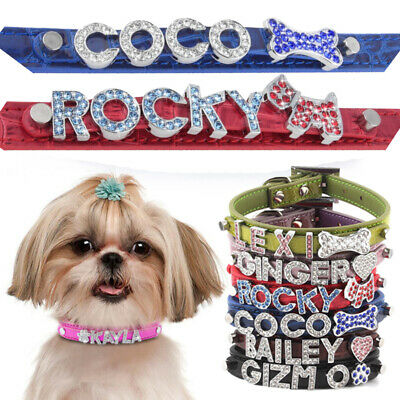 Pet Dog Cat Collar Bling Rhinestone Name Croc PU Leather US Shopping XS S M L XL