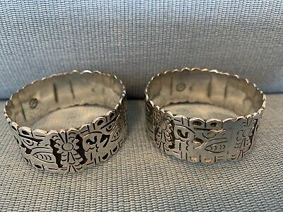 Pair Heavy 0.925 Sterling Mexican Antique Silver Napkin Serviette Rings