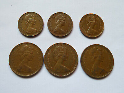 Extremely Rare Collectors Coin 3 x NEW PENCE 2p + 3 x NEW PENNY 1p - 1971 - 1977