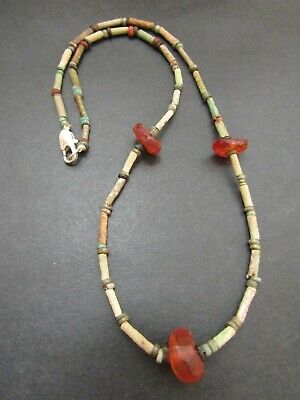 NILE  Ancient Egyptian Amber Amulet Mummy Bead Necklace ca600 BC