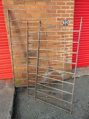 Genuine Original Antique Heavy Wrought Iron Estate Railings Fencing x 3 Sections