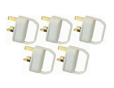 5 x Easy Pull Mains Plug Top 13A Amp Fused arthritis disability elderly WHITE