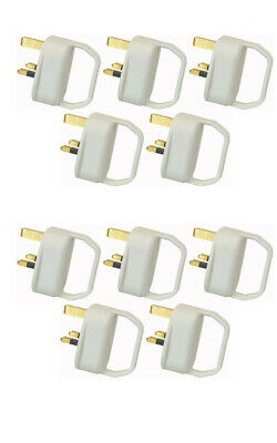 10 x Easy Pull Mains Plug Top 13A Amp Fused arthritis disability elderly WHITE