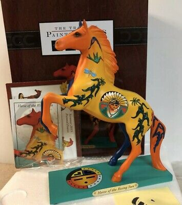 New Enesco Trail of Painted Ponies Horse of the Rising Sun Yellow Blue Day Night