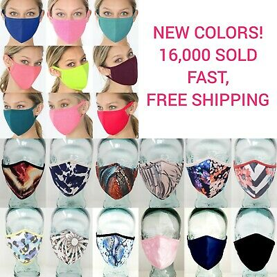 Face Mask DOUBLE Layer WASHABLE REUSABLE Fabric Masks Protective Mouth Covering