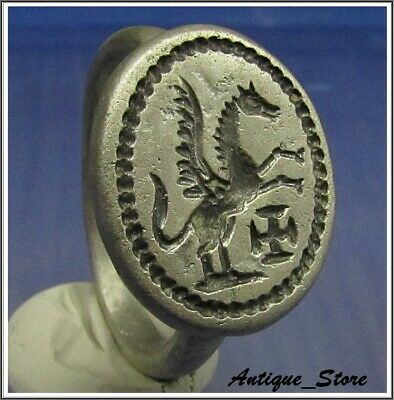 **WOW** PEGASUS - CROSS ** Ancient Silver Byzantine Cristianity Ring **AMAZING**