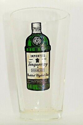 Tanqueray Special Dry Distilled English Gin Glass with 70's bottle on glass