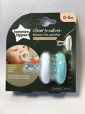 Tommee Tippee 2 Pk. Breast-Like Shape 0-6 Mon. Soother Pacifier White & Ice Blue